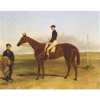 A Bay Racehorse with jockey up by Harry Hall