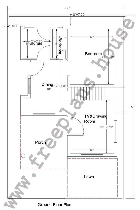 32 50 Feet 148 Square Meters House Plan Free House Plans House Plans 30x50 House Plans