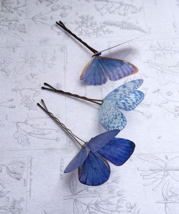 Butterfly Bobby Pins Women\u2019s Hair Clips Bobby Pins with Blue Butterfly Vintage Style Hair Pins Blue Butterfly Hair Pin Set of 4