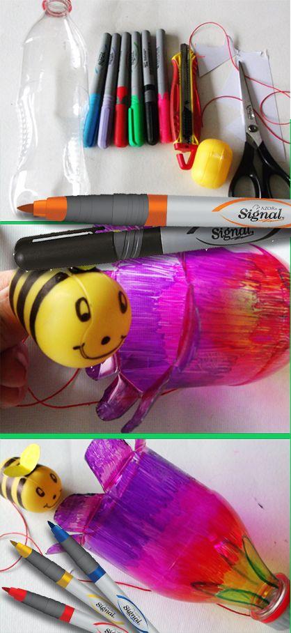 Balero de flores con abeja. Muy fácil y los niños de tu clase o en casa lo pueden decorar.