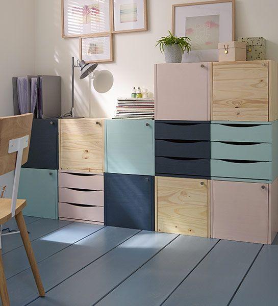 Meuble Modulable Avec Differents Cubes De Rangement En Bois Meuble Modulable Avec Differents Cubes De Rangement En Bois Home Decor Furniture House Interior