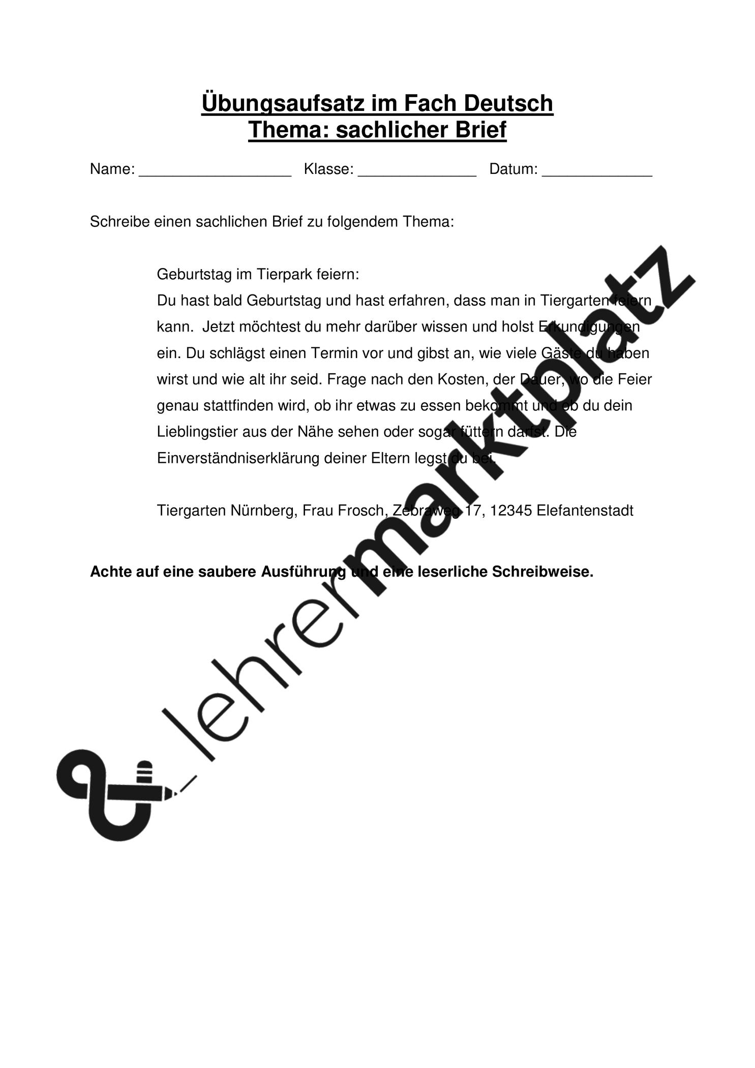 Sachlicher Brief Themenvorgabe Fur Ubungsaufsatz Unterrichtsmaterial Im Fach Deutsch In 2020 Brief Briefe Schreiben Aufsatz