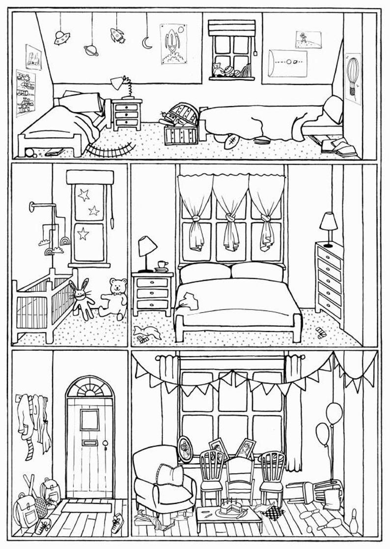 Bundle Of 4 Colouring Pages House Interiors Instant Download Print Colour And Play House Colouring Pages Colouring Pages Coloring Pages