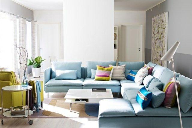 Wohnzimmer Bilder Ideen Blaues Sofa Designer