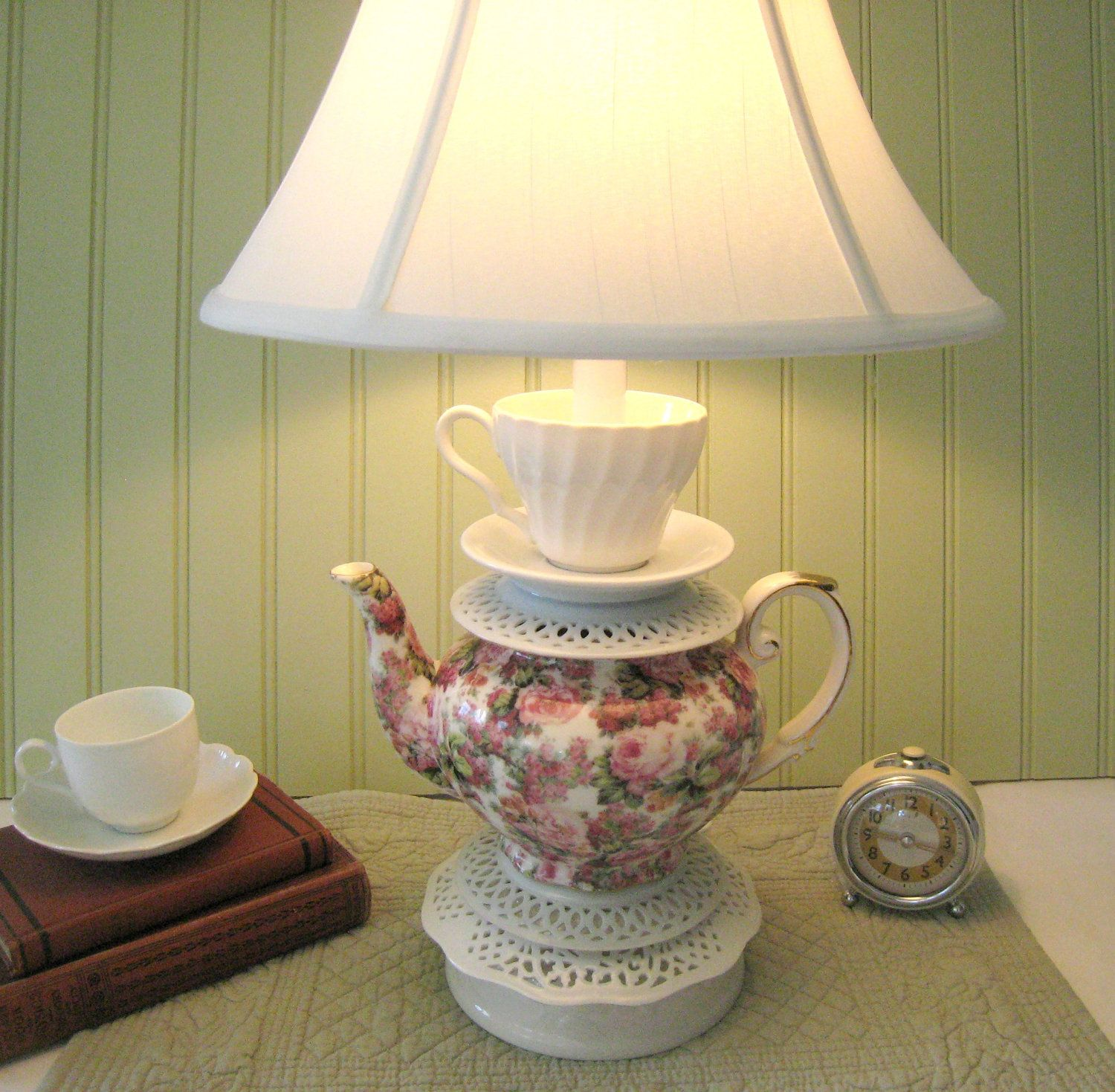 Teapot Lamp With Tea Cup Saucers Floral Pink Green White