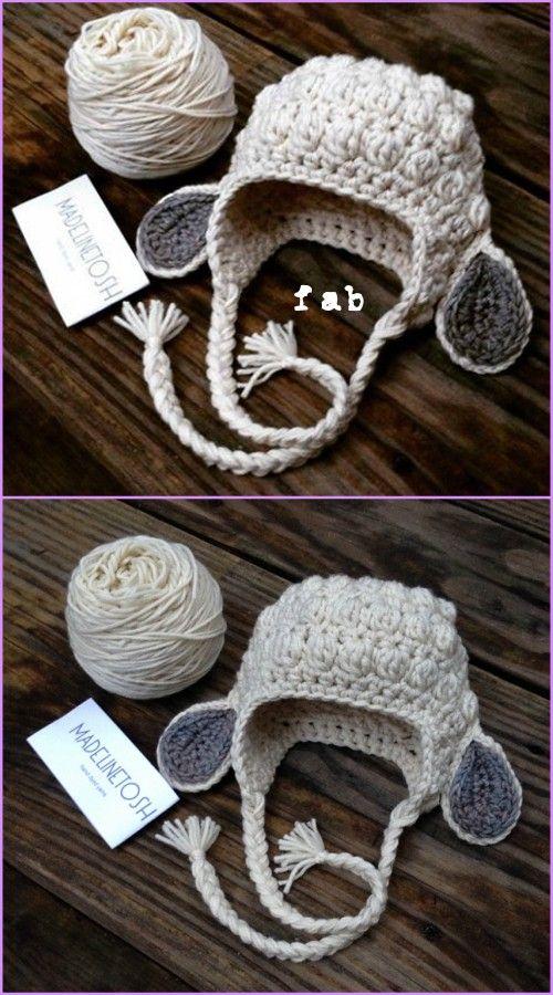 Crochet Kids Bobble Lamb Hat Free Pattern | Gorros, Tejido y Gorros ...