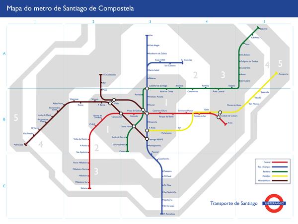 Santiago Subway Map.Mapa Do Metro De Santiago De Compostela Aura Boreal Santiago De