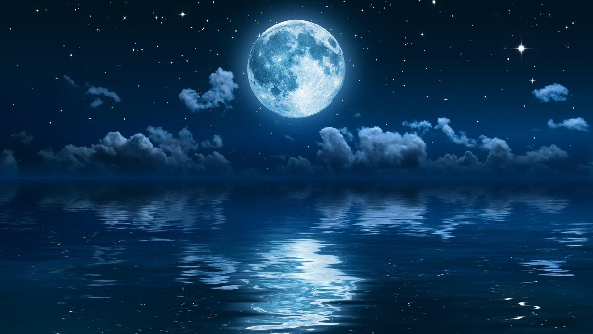 Full Moon Stars Sea Sky Night Night Sky Moon 1080p Wallpaper Hdwallpaper Desktop Night Sky Wallpaper Night Sky Moon Moon And Stars Wallpaper