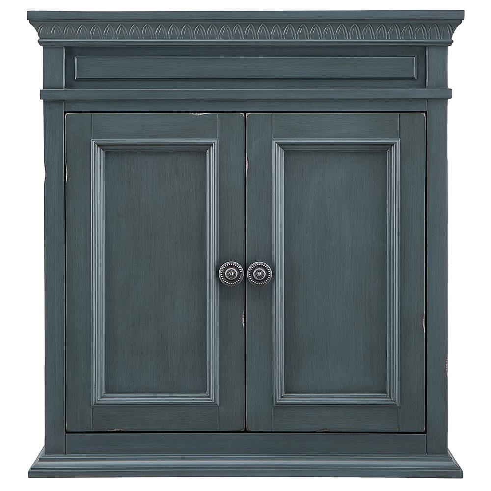 Home Decorators Collection Cailla 26 In W X 28 In H Wall Cabinet In Distressed Blue Fog Ckbw2628 Home Depot Bathroom Cabinet Storage