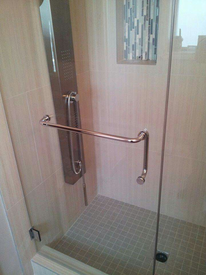 Shower Handle Towel Bar Combo Custom Glass Showers In