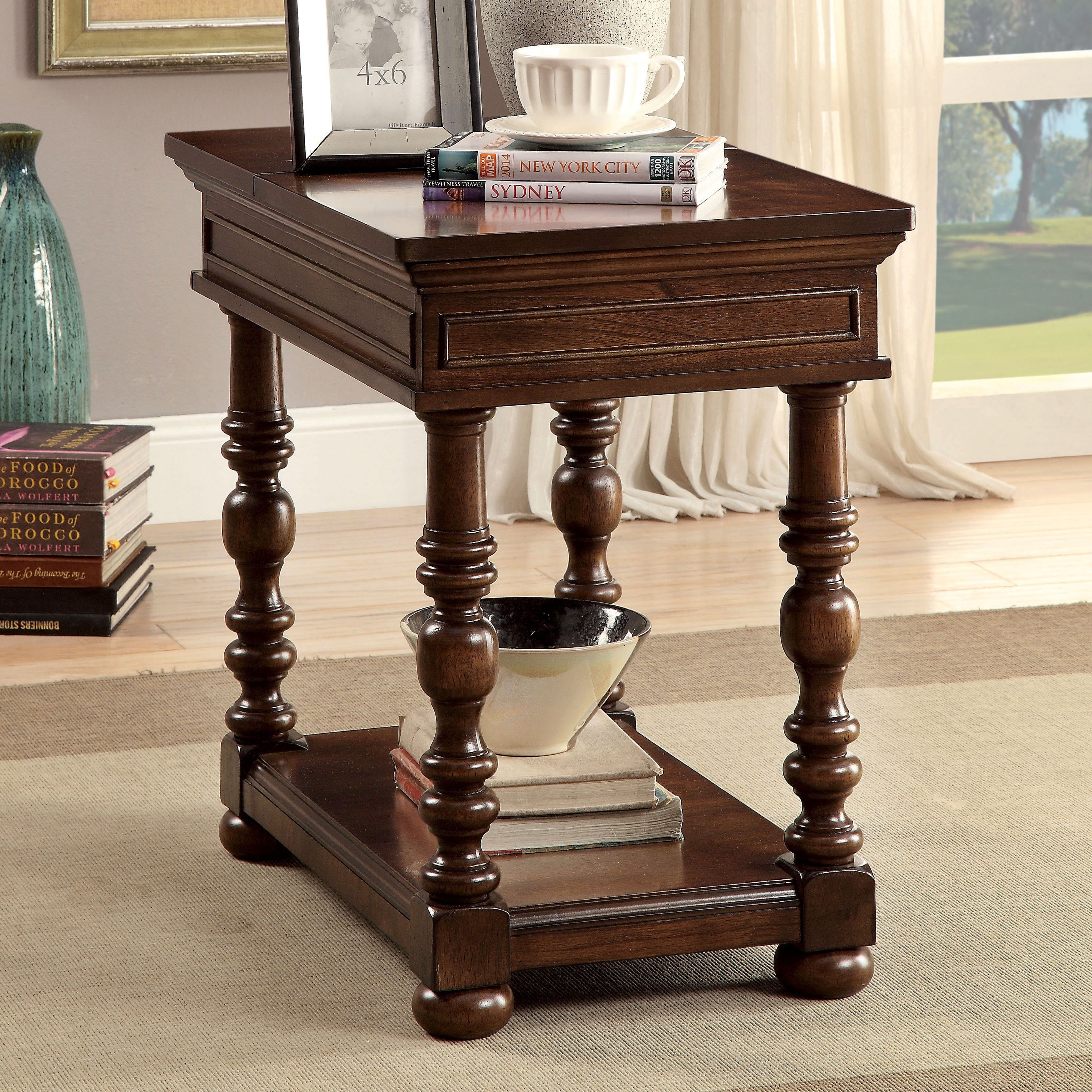 Furniture of america dorsetta brown cherry fliptop hidden storage