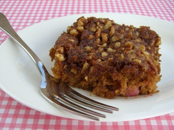 Rhubarb Sour Cream Coffee Cake Recipe Food Com Recipe Rhubarb Coffee Cakes Sour Cream Coffee Cake Rhubarb Recipes