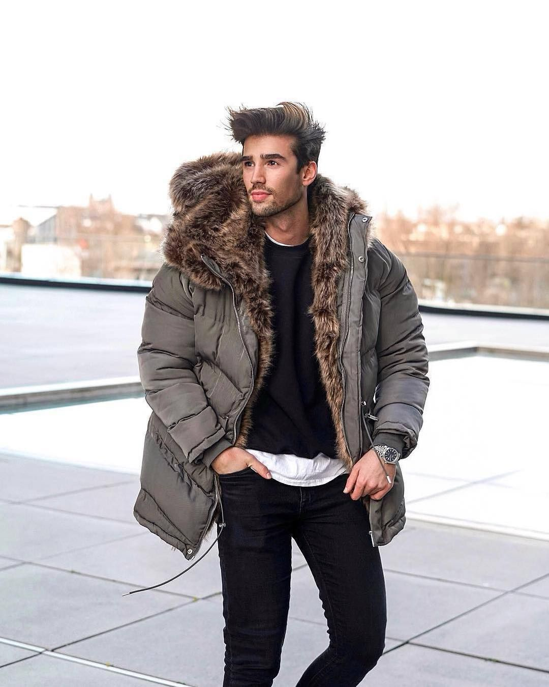 Maniere De Voir On Instagram Your Favourite Quilted Puffer Coat With Faux Fur Lining Shop The Triomphe Fur Fur Street Style Mens Parka Mens Fashion Casual [ 1350 x 1080 Pixel ]