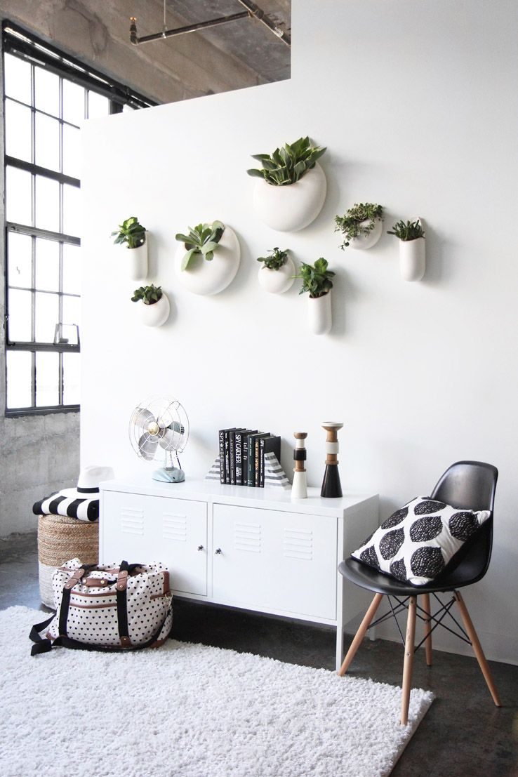 This Apartment, Spotted On West Elmu0027s Front + Main Blog, Features Clever  Planters That Hang On The Wall U2014 A Great Way To Add A Little Greenery To A  Room ...