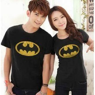 Kaos Couple Baju Pasangan Soulmate Batman Hitam Elevenia