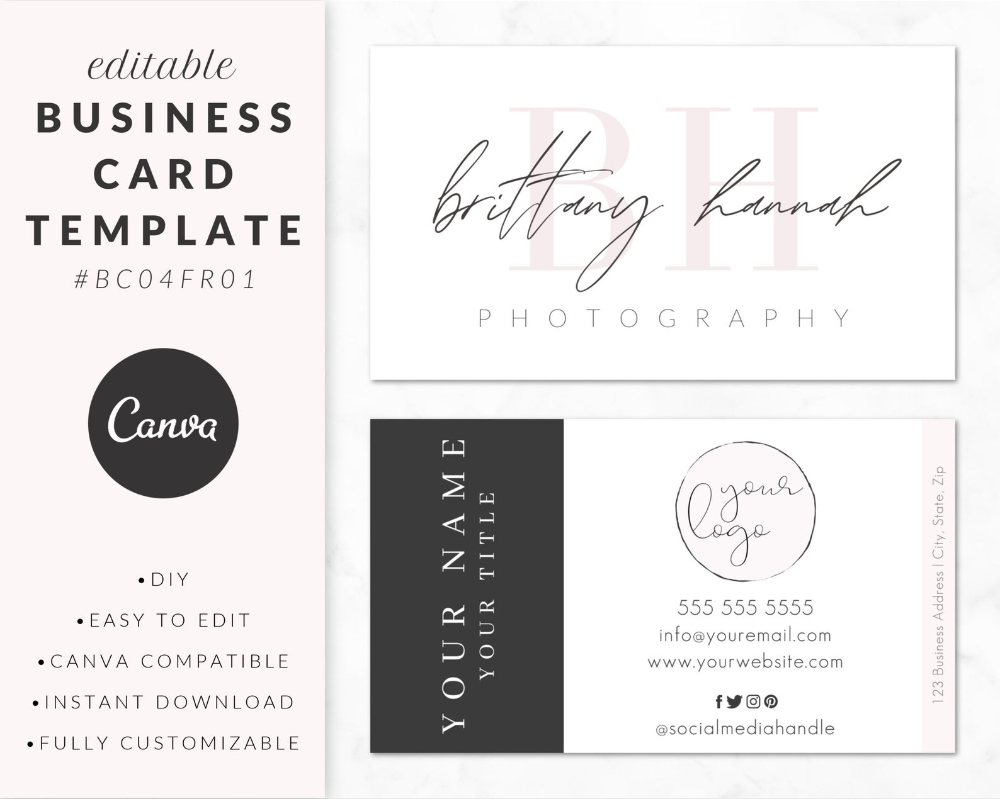 Business Card Template For Canva Business Card Design Etsy Business Card Template Business Card Design Card Template