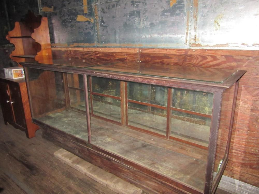 Antique Oak Glass Showcase. General Store Oak Counter