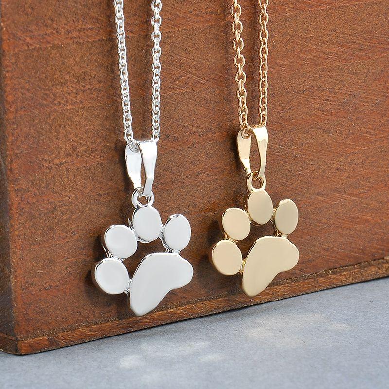 Perro de plata esterlina 925 Cadena Collar Colgante de impresión pata sea Gems Memorial Gato