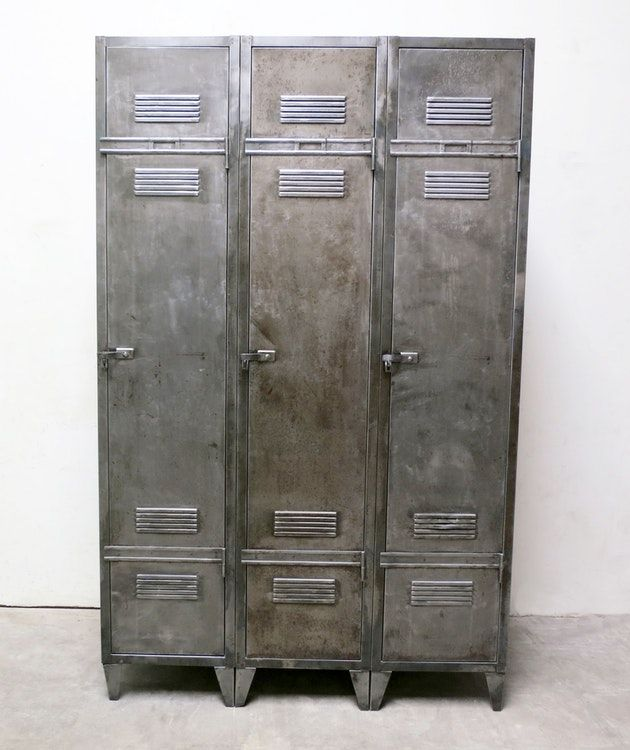 French Industrial Vintage 3 Door Locker French Industrial Vintage Industrial Door Locker