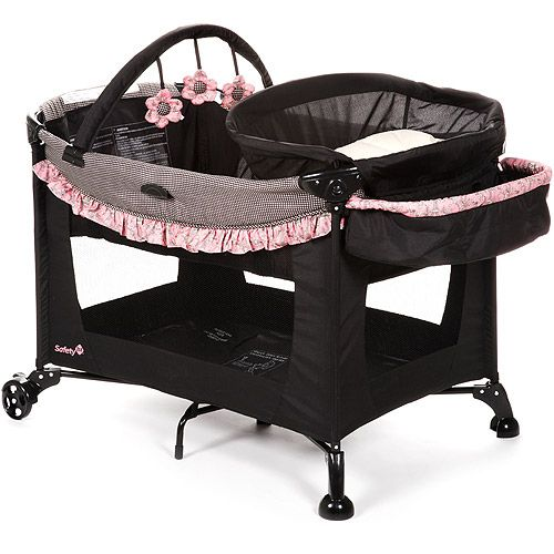 Black n Pink Playpen Cute! | Baby play yard, Play yard ...