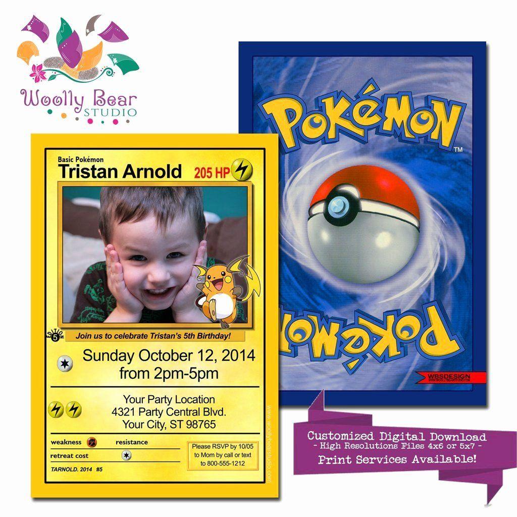 Pokemon Birthday Invitations Template New Pokemon Card Birthday Invitation Pokemon Birthday Pokemon Party Pokemon Birthday Invites