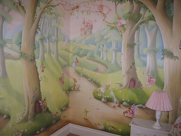 Murals girls room french country google search ideas for Fairy castle mural