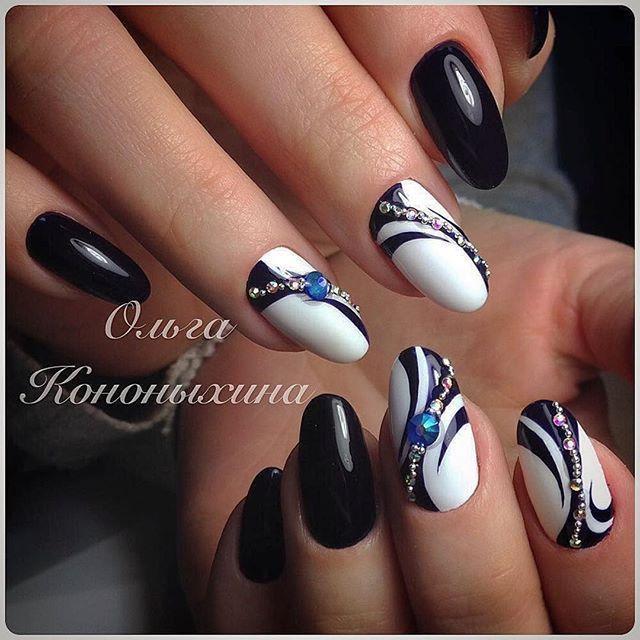 White Nail Enamel With Black Swirl Designs Nail Polish Designs