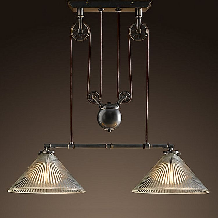 Industrial Pulley Double Pendant Light By Amonson Lighting