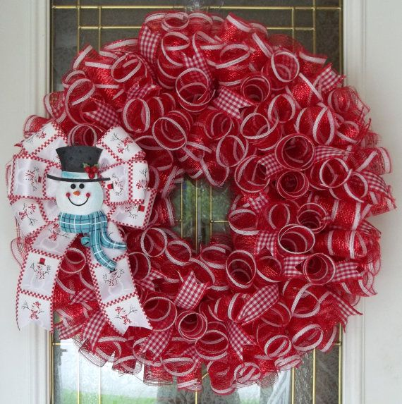 Snowman Mesh Wreath, Christmas Wreath, Winter Wreath Wreathes