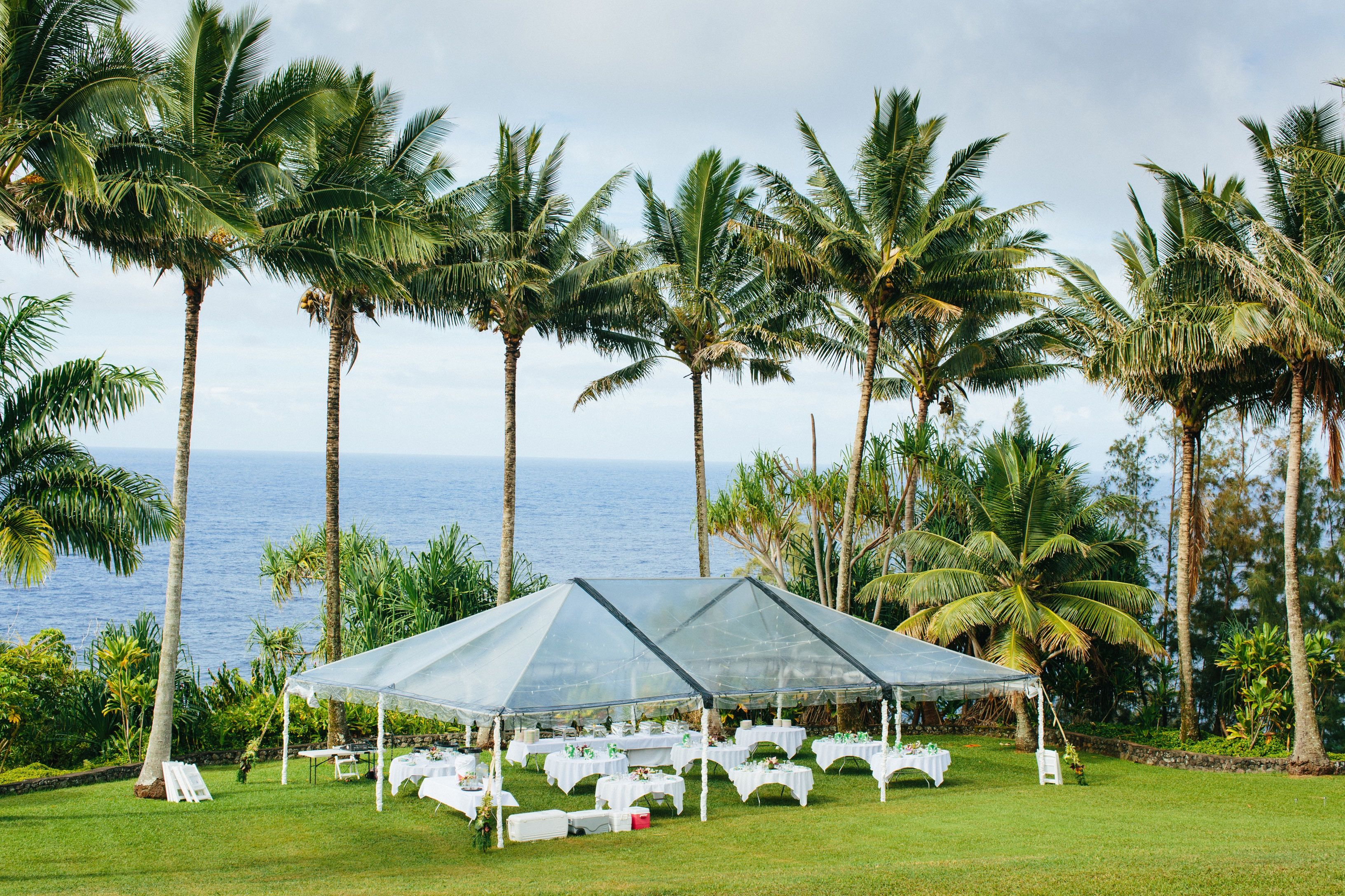 Drone photo of our clear tent for a wedding reception - Big Island Tents & Drone photo of our clear tent for a wedding reception - Big Island ...