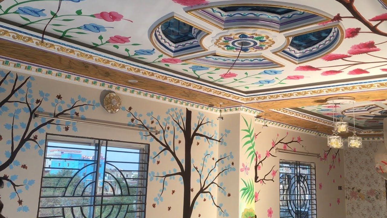 different kinds of flower designs painting wall and on different types of interior walls id=20943