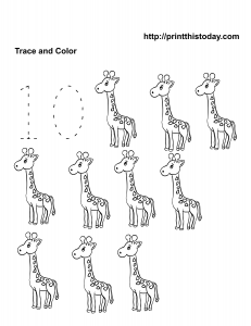 Free printable number 10 tracing worksheet with giraffe
