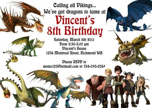 How to Train Your Dragon Hiccup Viking Custom Birthday Invitation – Dragon Birthday Invitations
