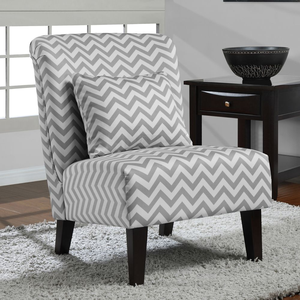 grey and white accent chair poppy pop up high cover at home by o anna chevron furniture mattresses living room chairs recliners