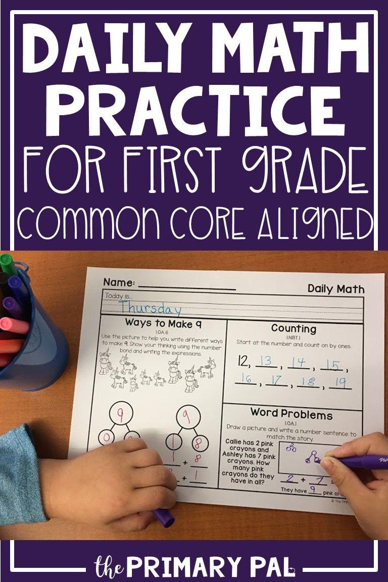 First Grade Math Worksheets Bundle Daily Math Practice Daily Math First Grade Math Worksheets [ 1152 x 768 Pixel ]