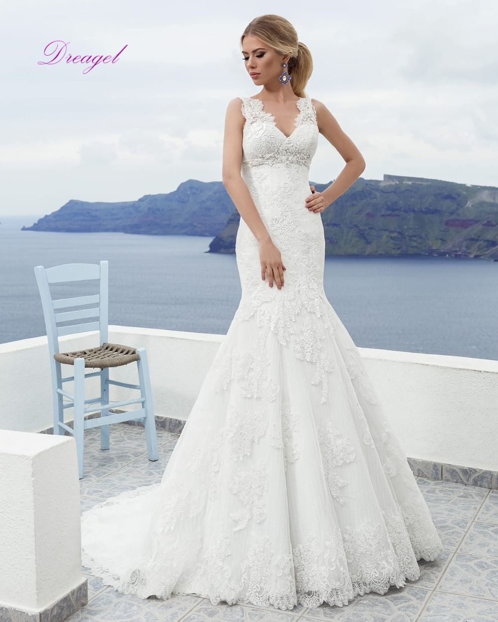 Dreagel new arrival romantic vneck mermaid lace up wedding dress