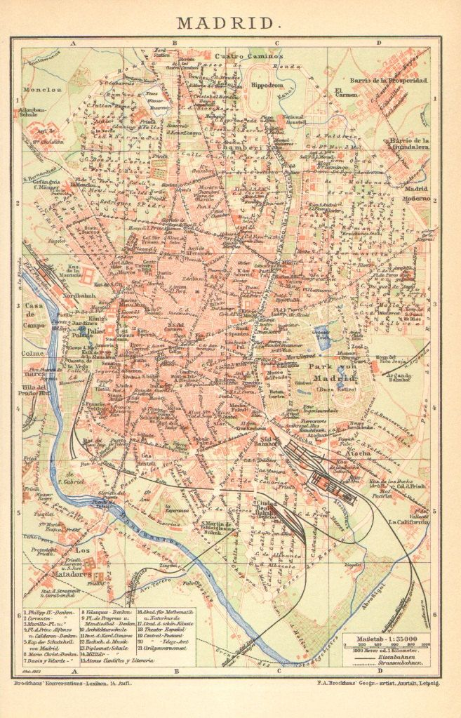 1902 Antique Dated City Map of Madrid, Spain | maps | Madrid, Map ...
