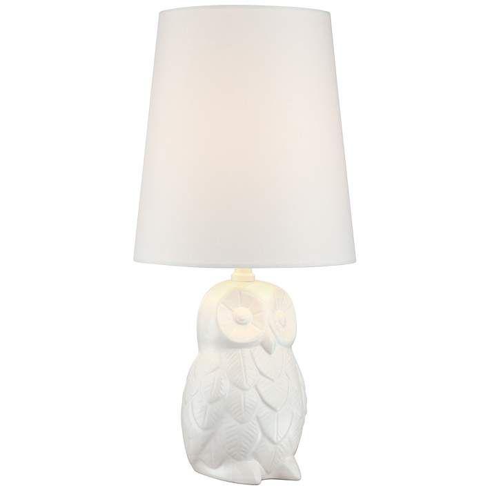 Night Owl 19 High White Ceramic Accent Table Lamp 6c456