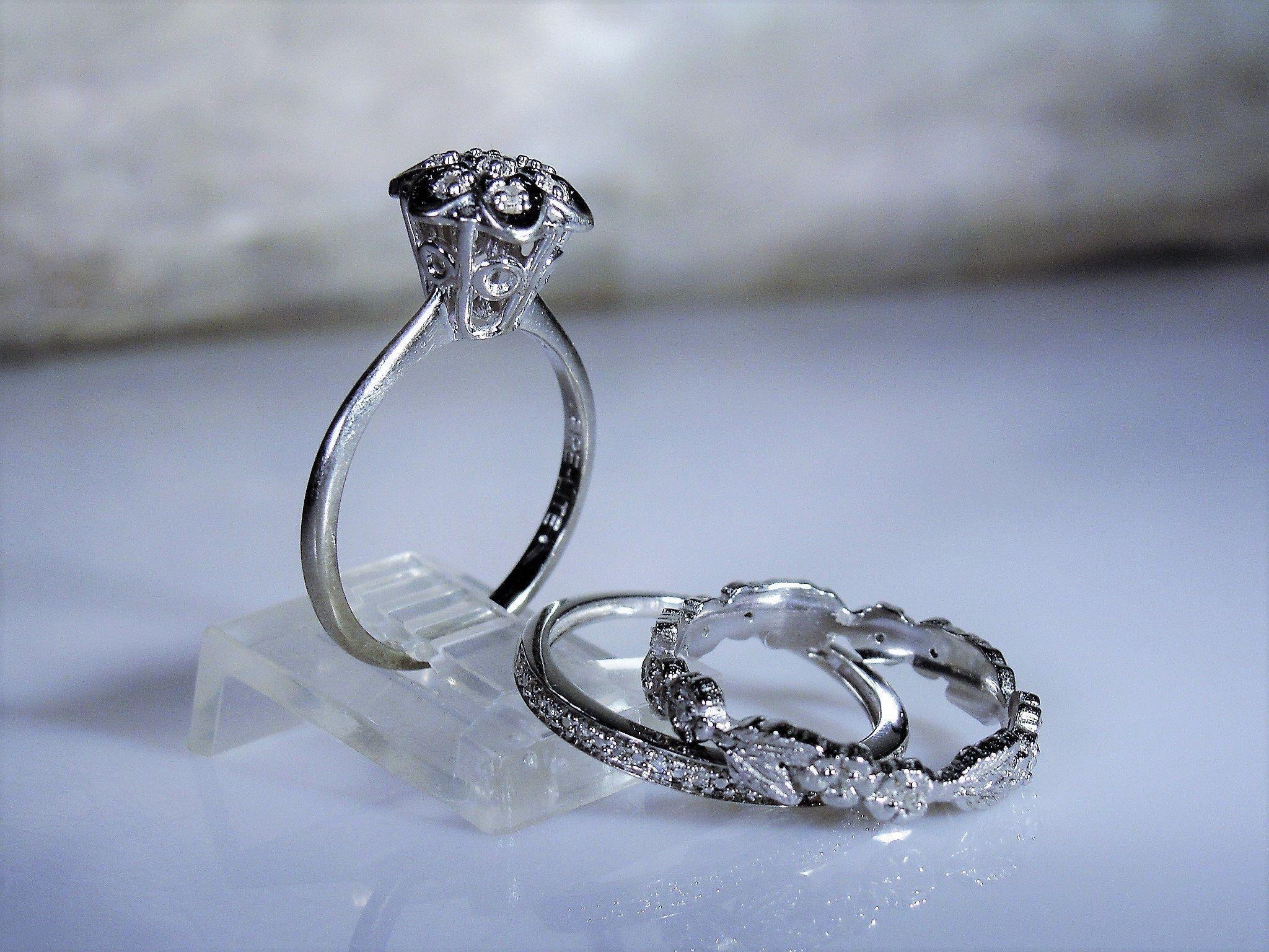 10k victorian bridal ring set white gold stacking rings