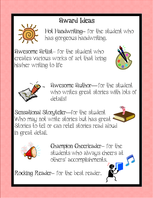awards ideas to use for your kiddos at your awards program free