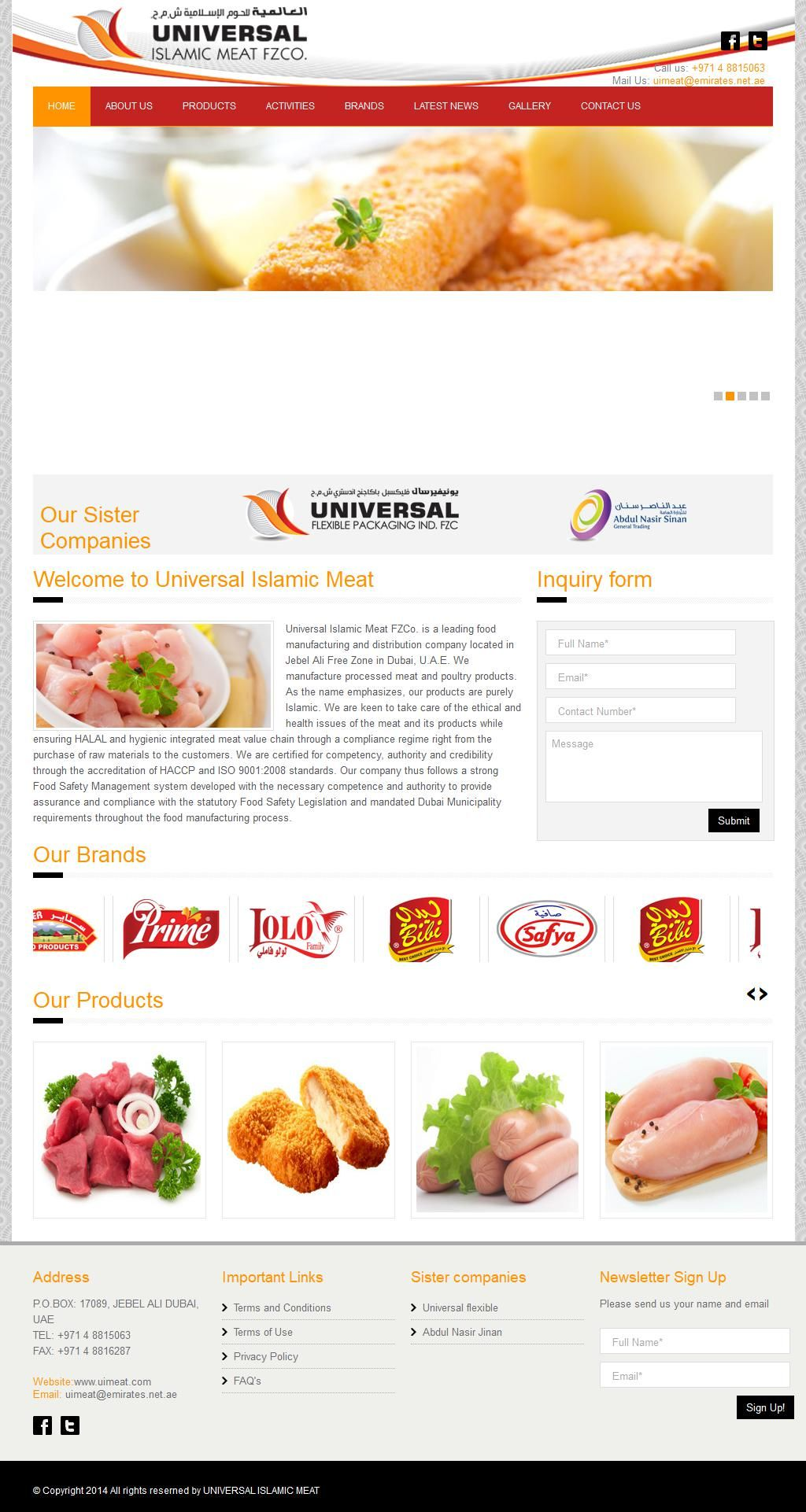 Universal Islamic Meat Meat - Processors & Wholesalers Dubai