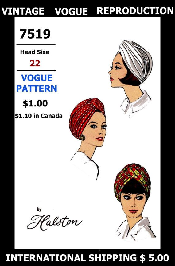 TURBAN HAT Fabric Material Sewing Pattern # 7519 Vintage VOGUE ...