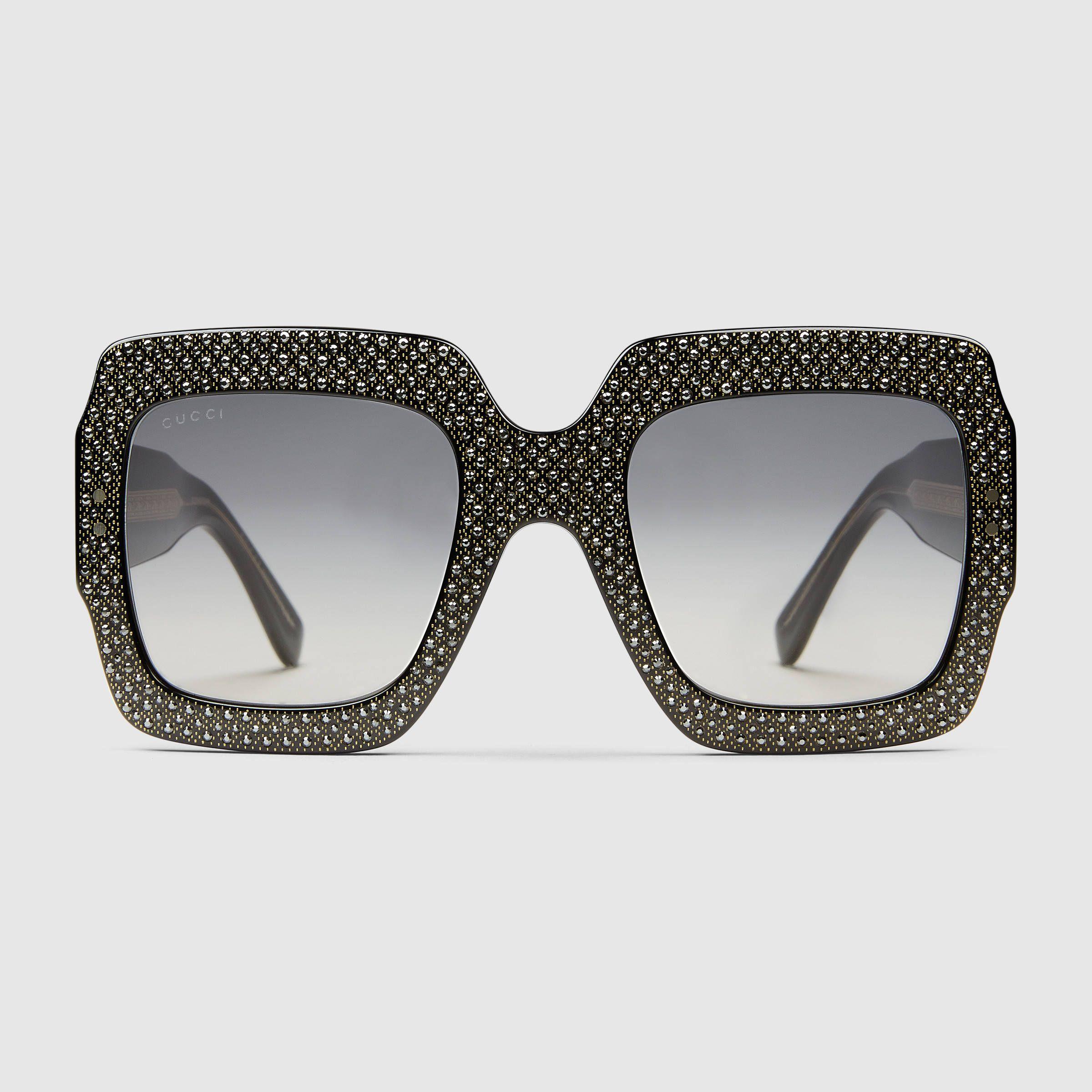 46fc5f6fad7 Gucci Women - Oversize square-frame rhinestone sunglasses - 434041J07401150