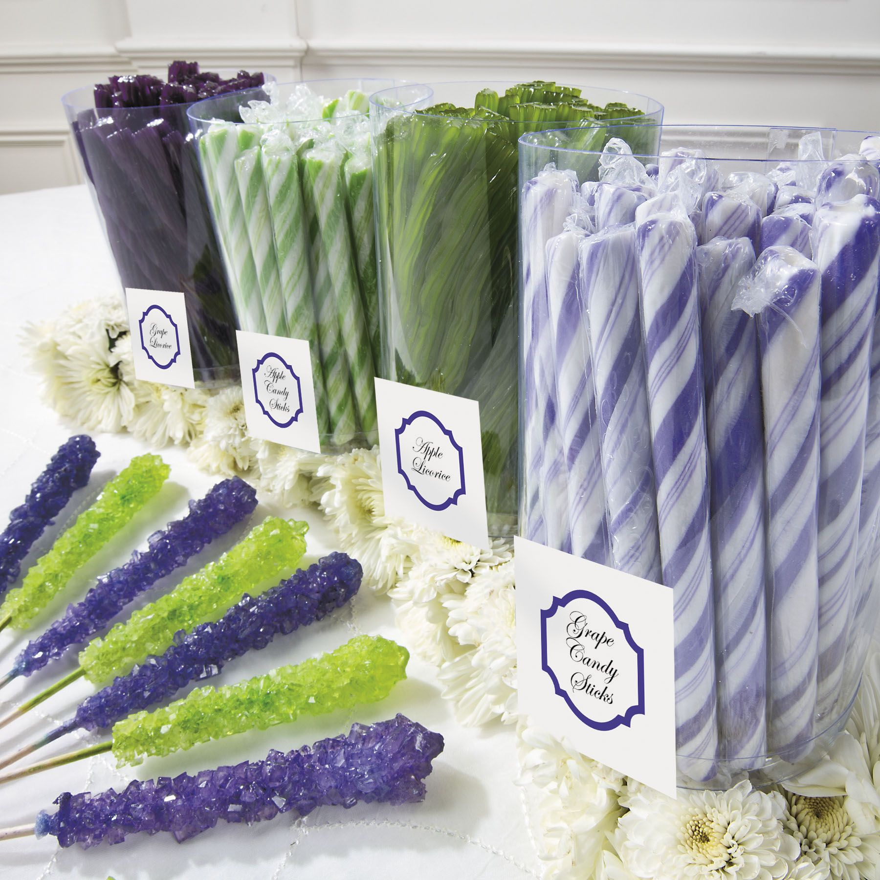 Decorate Your Wedding Candy Buffet With Purple And Lime Green Treats