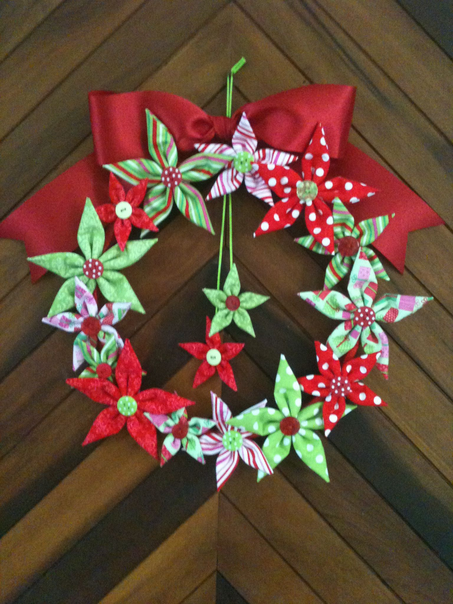 Margarita ornament - Fabric Stars Wreath Designed And Created By Margarita