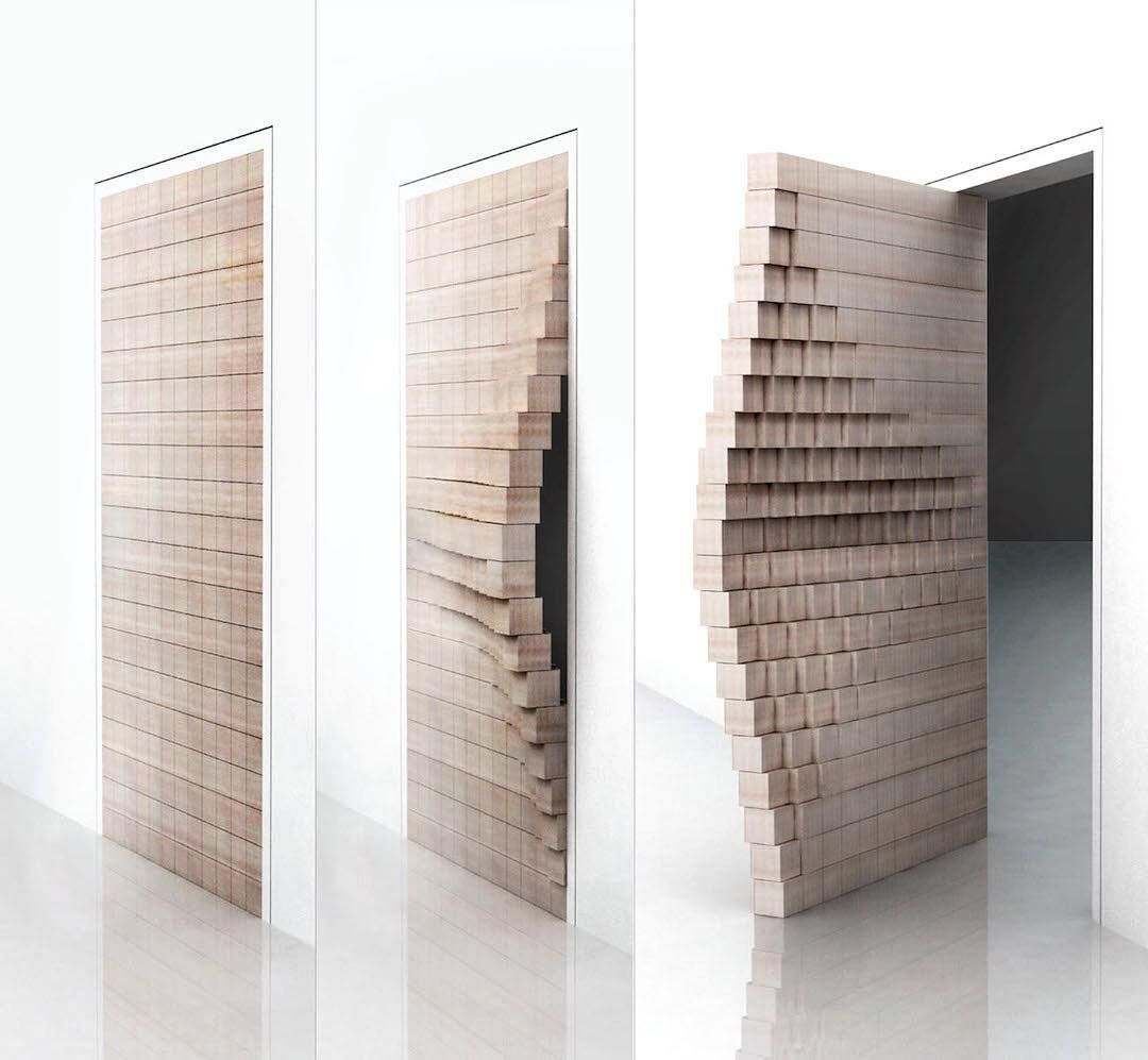 """SLOW DOOR > Panel finalist for the Lexus Design Award 2016; designers: Deepak Jawahar and Irina Bogdan  This idea explores the """"in-between"""" space by prolonging the moment of tactile contact between the user and the door. The design process centers around determining the amount of delay required to create and amplify this space, while maintaining functionality. The door itself consists of 252 blocks, a number of which push outward before the door opens. Lexus Design Award 