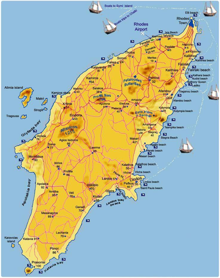Cartina Della Grecia E Isole In Italiano.Mappa Rodi Cartina Rodi Rodi Idee Di Viaggio Viaggio