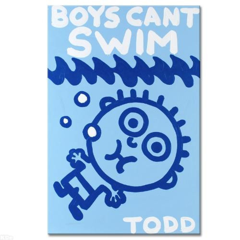 """Todd Goldman Signed """"Boys Can't Swim"""" 24"""" x 36"""" Original Acrylic Painting on Stretched Canvas 1/1 (PA LOA) at Pristine Auction"""