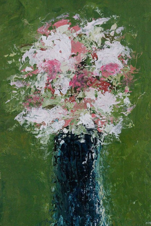 Art Painting Abstract Painting  Wildflowers by SwallaStudio, $75.00