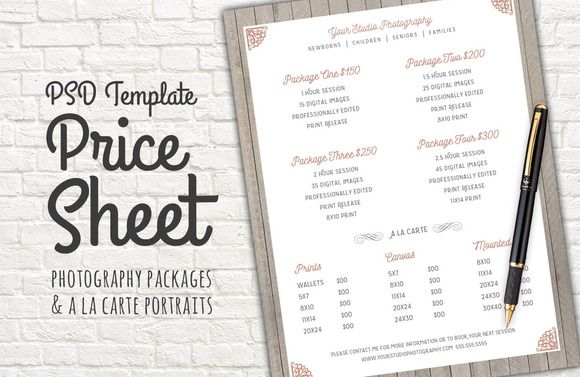 Price Sheet Template PSD by Studio29 on Creative Market Templates